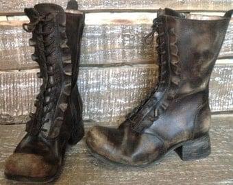 Distressed leather boots La Boheme-2