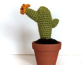 Crocheted Cactus with Flowers with Bamboo Yarn in a Clay Pot- Made to Order
