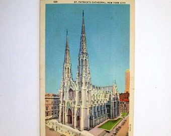 St Patrick's Cathedral postcard.  New York City.  Vintage linen finish postcard.