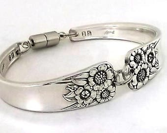 Spoon Bracelet April 1950 Sunflower Vintage Silverware Jewelry Antique Silver Upcycled Flatware Handle Braclet Kansas State Flower