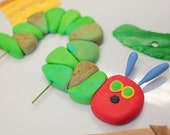 READY TO SHIP  1 qty Hungry Fondant Worm, Hungry Caterpillar Topper for Hungry Caterpillar birthday 5 inch's long