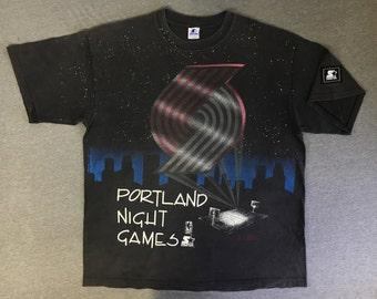 BLAZERS Shirt 90's Vintage STARTER Rip City/ All Over Print Portland Night Games Trail Blazers Tshirt/ Huge Graphic NbA Basketball UsA XL