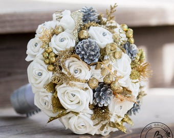 Winter wedding bouquet, silver and gold bridal bouquet, pine cone bouquet, winter wonderland bouquet, silk flower bouquet with pinecones