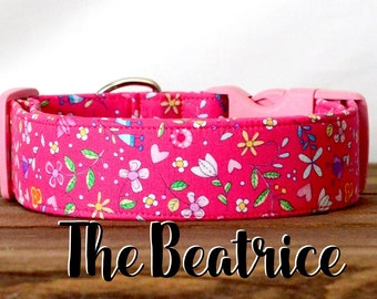 "Colorful Girly Pink Floral Dog Collar ""The Beatrice """