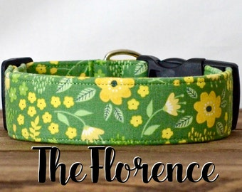 """Vintage Inspired Girly Green & Yellow Floral Dog Collar """"The Florence"""""""