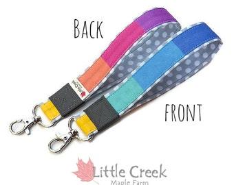 Pastel Rainbow loop keychain, muted stripe wristlet keychain