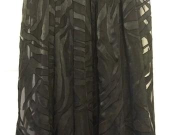 Beautiful 90s Black Velvet Burnout Sheer Skirt