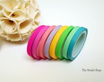 Pastel Rainbow Solid Thin Washi Tape Set of 8