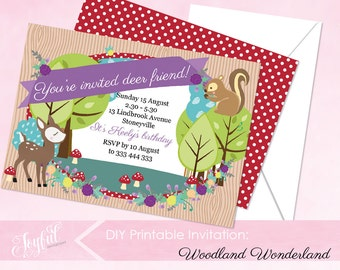 Woodland Birthday Party Printable Invitation