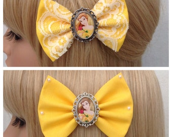Princess Belle beauty and the beast hair bow clip rockabilly psychobilly disney kawaii pin up fabric yellow pearls pretty ladies girls women