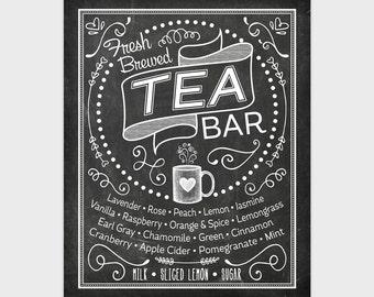 Chalkboard Tea Wall Art, Printable Kitchen Chalk Art, Tea Print, Tea Bar,