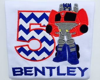 TRANSFORMERS OPTIMUS PRIME Rescue Bot-Personalized Embroidered Birthday Bodysuit or T-shirt