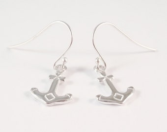 Sterling Silver Anchor Earrings, Anchor Earrings, Hope Earrings, Ship Earrings, Nautical Earrings,