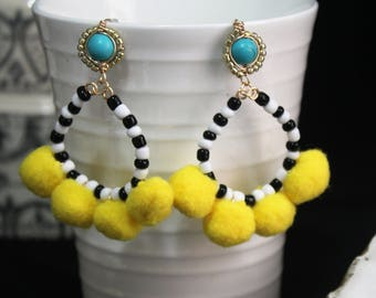 Yellow Pom pom  Earrings-  - Claribella Collection -Adara Penina - Boho Jewelry