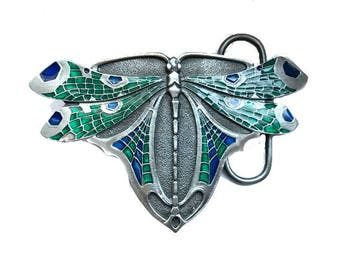 Beautiful Vintage Dragonfly Belt Buckle - Blue Green Turquoise - Art Deco Nouveau - Wing - Bug - Holiday Deal Sale