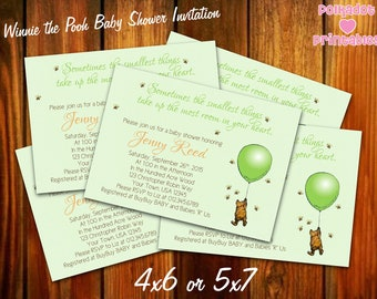 Classic Winnie the Pooh Green Baby Shower Invitation - 4x6 or 5x7 Digital Printable