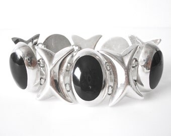 Sterling Silver XOXO Linked Bracelet Set With Black Onyx Made In Mexico