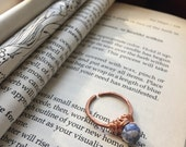 Sodalite and hammered copper ring.