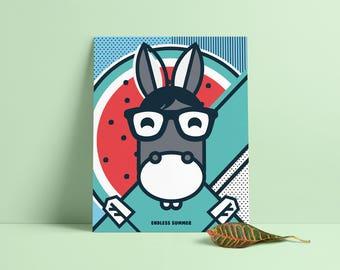 Endless Summer, Pop Art, Summer, Donkey, Watermelon, Colour, illustration, Wall Art, Home Decor, Poster, 40 x 50cm, Geometric
