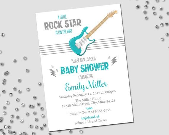 rockstar baby shower invitation rockstar baby shower guitar and