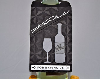Wine Bottle Tags (Set of 2), Thanks Tags, Wine Bottle Tag, Thanks for Having Us, Thank You Tags, Spirits Tags