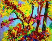 """Autumn Blaze - """"Gone Wild Series"""" - 6"""" x 6"""" Original Miniature Landscape Paintings"""