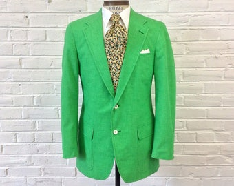 Vintage 1980s Brooks Brothers Brooksgate Preppy Green Sport Coat. Marked Size 41L