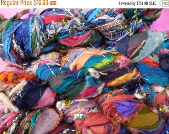 SALE Sari Silk Ribbon and Fiber Skein, Turkish Candy,  Fair Trade item