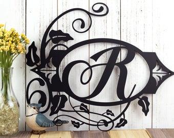 "Monogram Metal Sign   Custom Sign   Monogrammed Sign   Personalized   Wedding Gift   Custom Monogram   Metal Wall Art   15.5""W x 13.25""H"