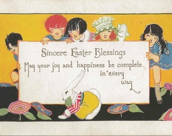 Antique Easter Postcard With Sincere Easter Blessings Featuing Five Charming Girls Playing With Their Easter Bunny Rabbit
