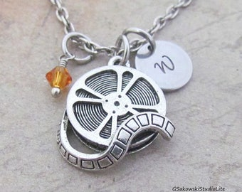 Film Reel Charm Necklace, Personalized Antique Silver Hand Stamped  Initial Birthstone, Film Reel Necklace