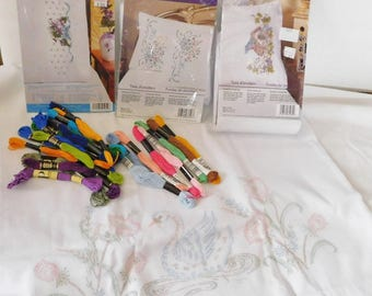8 Stamped PILLOWCASES  TO EMBROIDER with floss Pillowcase Kits