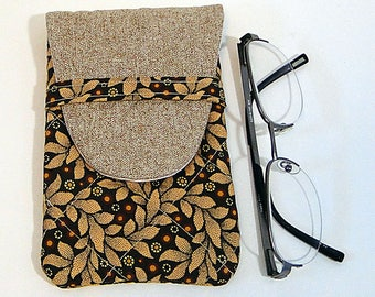 Eyeglass Case, Brown, Sunglass Case, Leaf Print, Woman's Case, Quilted Case, Fabric Case