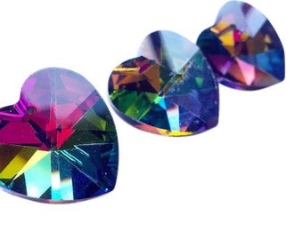 ONE Vitrail Rainbow Chandelier Crystal Hearts 18mm Prism Shabby Chic Jewelry Making Supplies