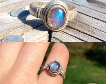 vintage sterling silver rainbow moonstone ring size 8.25