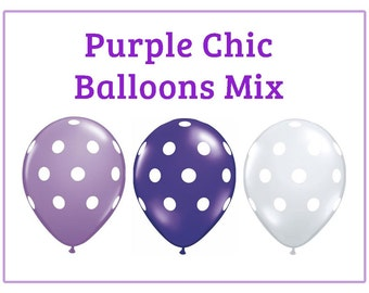 "Purple chic polka dot Print 11"" Balloons birthday party decorations purple white lavender"