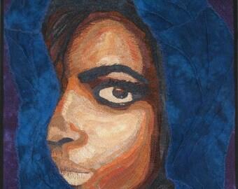 Lady ~ 18x24 ~ Fiber Wall Art - Fibre Wall Art ~ Textile Art ~ Quilt Art ~ Art Quilt ~ Collage Art ~ Framed Wall Hanging