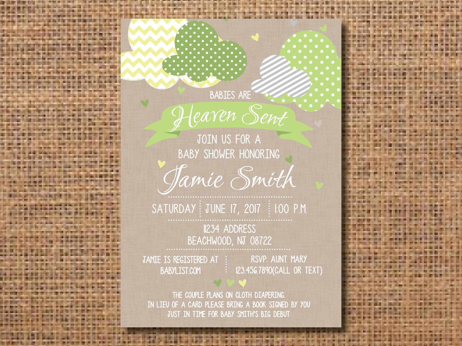 Heaven Sent Baby Shower Invitation, Gender Neutral Baby Shower ...