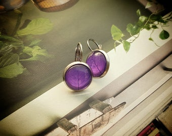 Leaf earrings, purple earrings,Leaves,Botanical earrings,Stainless steel purple earrings,Lilac earrings,Nature lover gift, girlfriend gift