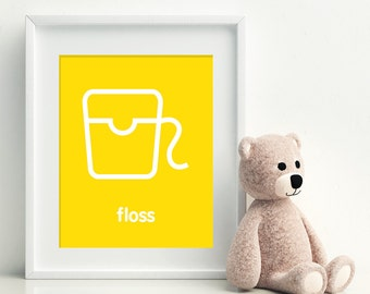 FLOSS - Art Print - dental hygiene bathroom art - kids bathroom decor