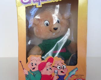 Vintage 1980's Alvin and The Chipmunks / Theodore Stuffed Animal in Original Packaging
