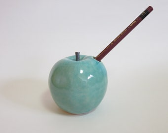 Pre-order, Applepen, Ceramic sculpture, apple fruits, turquoise blue glaze, Ceramics and Pottery, home decoration