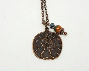 Copper Roman Coin Layering Necklace - Copper Necklace - Roman Coin Necklace - Layering Necklace