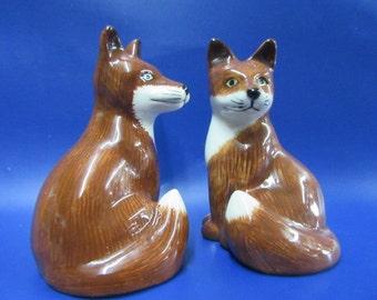 Fox Salt and Pepper Shaker Fox Salt & Pepper Cruet Hand Painted