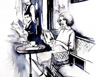 Cafe in Paris Illustration - Original Parisian Romance Painting  - Lana Moes' Art - Parisian Girl - Parisian Cafe Cityscape
