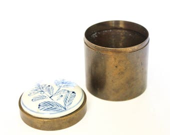 Vintage Brass and Ceramic Top Box / Powder Puff box / brass box