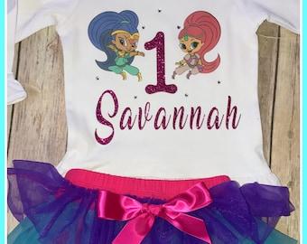 Shimmer and shine birthday shirt, character birthday shirt, personalized shimmer and shine shirt, personalized top, personalized birthday