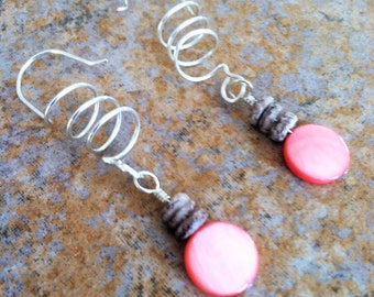Pink Shell Earrings, Fun Wire Spring Dangles, Handmade Jewelry, Casual Earrings, Boho