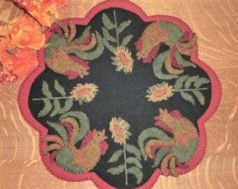 GOOD MORNING ROOSTERS  Wool Applique Cath Penny Rug Candle Mat    Pattern only