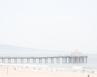 Manhattan Beach Photography, California print pier pretty beach decor ocean water coastal surf pastel colors serene neutral Los Angeles art